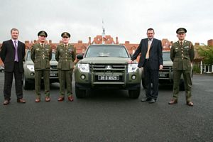 Pictured handing over the first Pajeros were (L-R) Kevin Kealy, Technical Manager, Mitsubishi Motors, Lt Col John Egan, Colonel Tom Rigney, Defence Forces Director of Transport, Robert Guy, Sales Manager, Mitsubishi Motors Ireland and Commandant Stephen Malone.