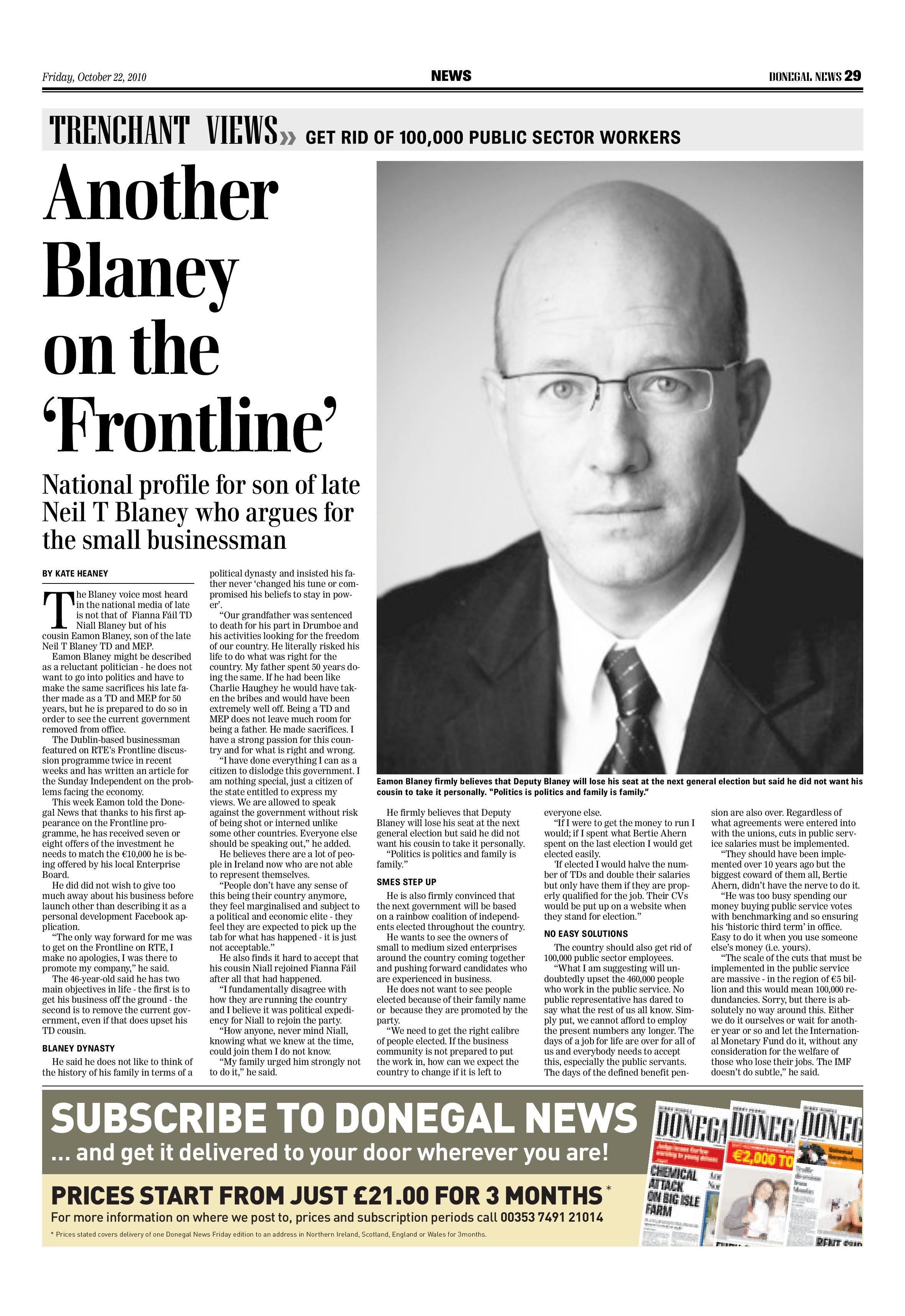 Eamonn Blaney - Donegal News 2010